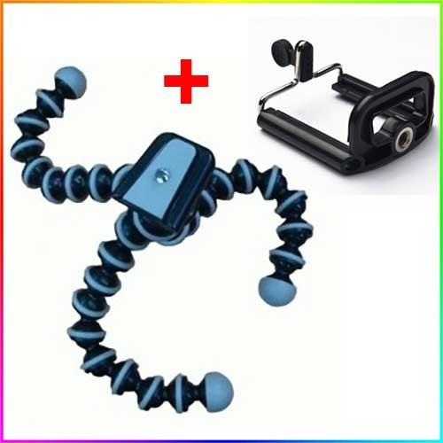 Mini Flexible Tripod Gorilla Pod Octopus + Holder Clamp U Smartphone - Hitam Putih