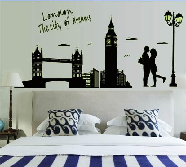 jual kota london abqd6905 - glow wall sticker / stiker dinding