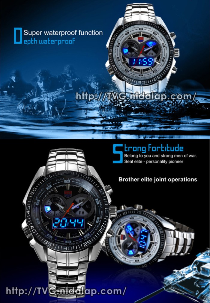 Jual Jam Tangan Fashion Stainless Dual Time Led Analog Original