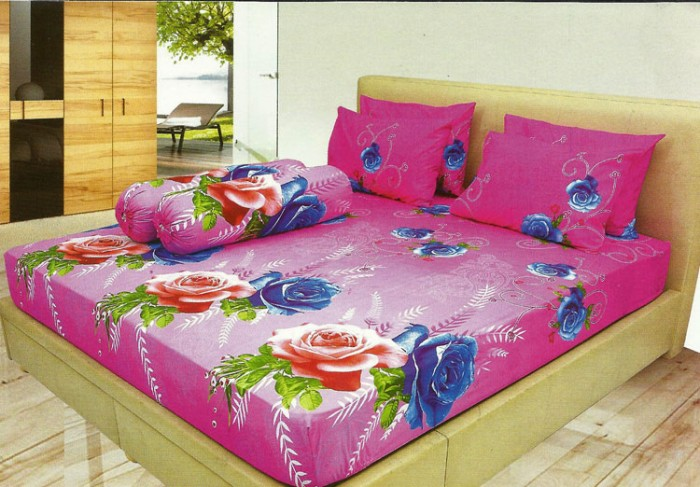 Sprei LADY ROSE Queen DELIMA 160x200cm Bunga Pink Sarban Sargul Set