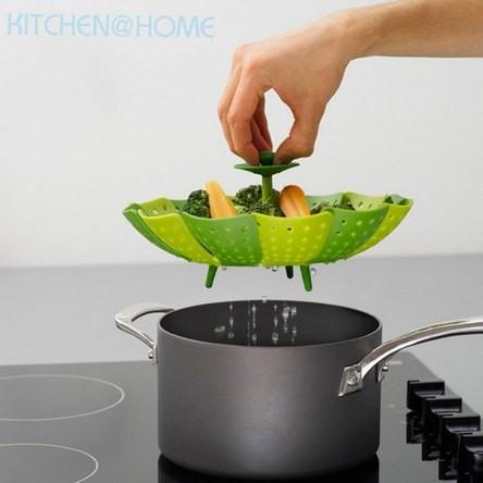 Steamer Basket Peralatan Dapur Unik Alat Kukus Sayur Bahan Silikon