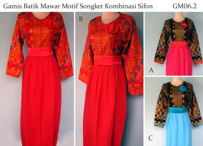harga Gamis batik motif songket kombinasi sifon Tokopedia.com