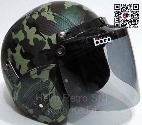 Helm retro sni loreng full kaca bogo 05 import original