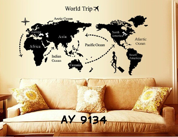 jual wall sticker uk.60x90 wallstiker peta dunia world trip - kota