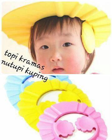 harga Topi keramas plus penutup telinga/topi mandi bayi Tokopedia.com