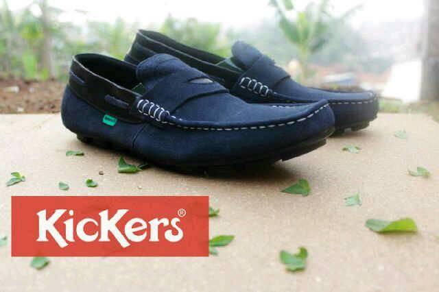 Jual Sepatu santai slop kickers mocasin kulit casual polos biru ... b06d961362
