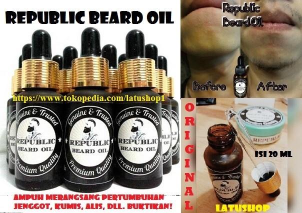 REPUBLIC BEARD OIL / SERUM PENUMBUH RAMBUT, JENGGOT, ALIS,KUMIS,AMPUH!