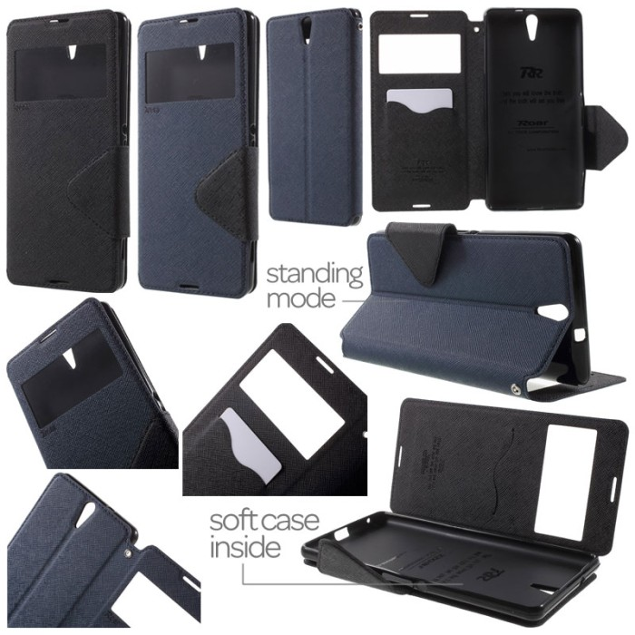 harga Roar leather flip book cover case dompet sarung sony xperia c5 ultra Tokopedia.com