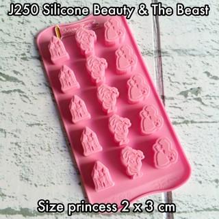 J250 silicone beauty & the beast cetakan coklat puding pudding bento
