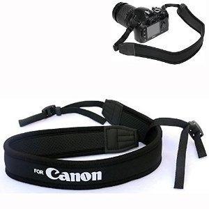 Elastic neoprene neck strap for canon - white text