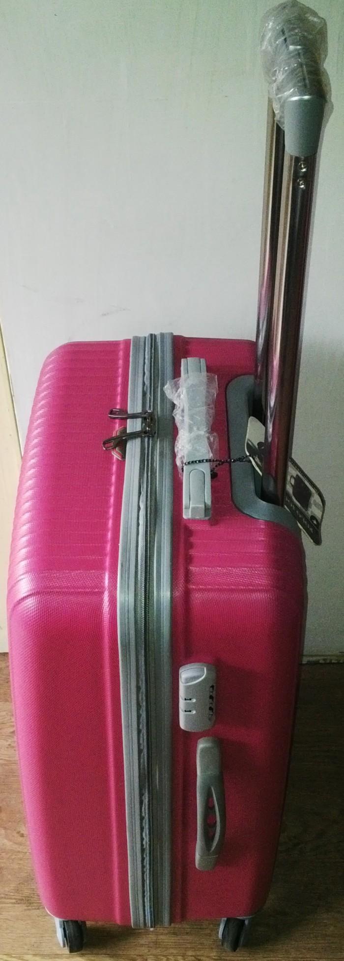 Jual Koper Travel Gaul Fiber Abs Polo Jockey 24 Inci Pink Garis Inchi