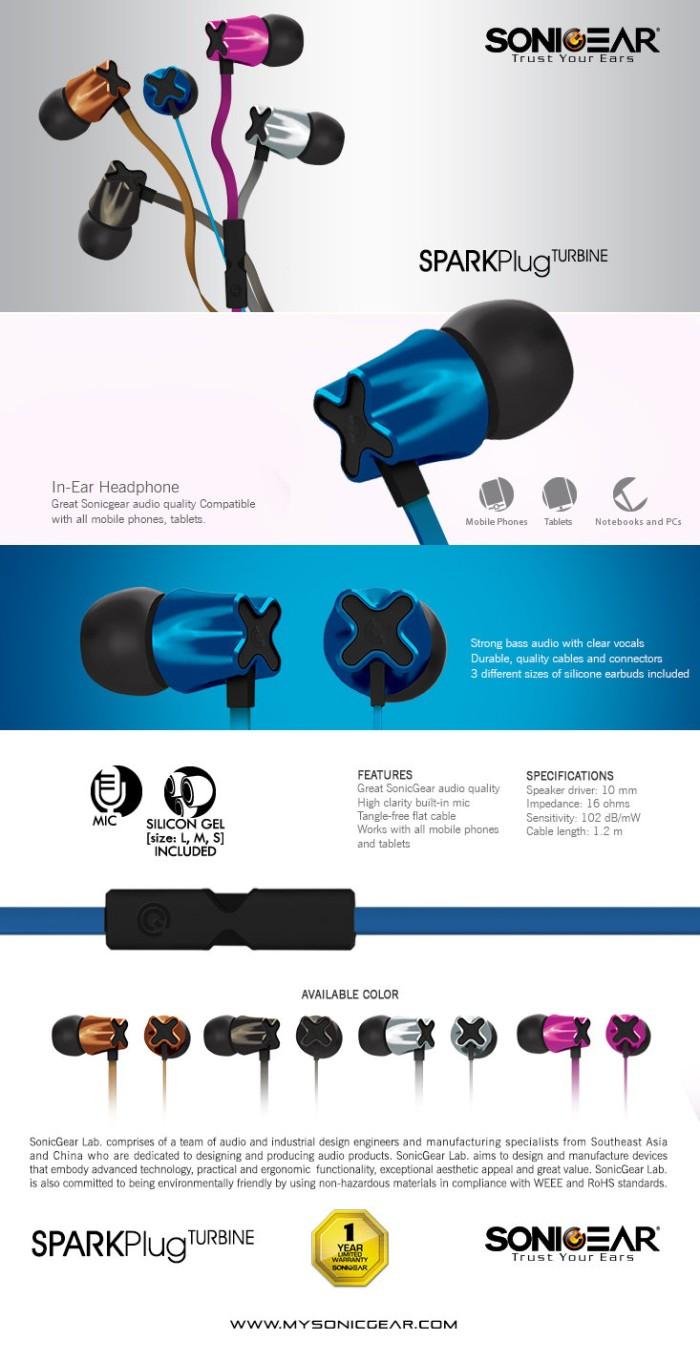 Jual SonicGear Spark Plug Turbine Earphone With Built In