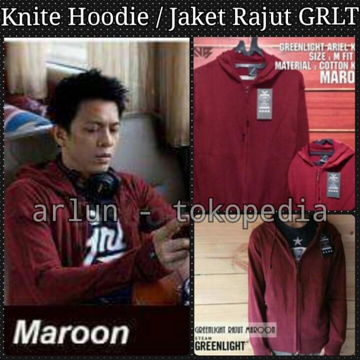 harga Knit hoodie / jaket rajut greenlight ariel - maroon Tokopedia.com