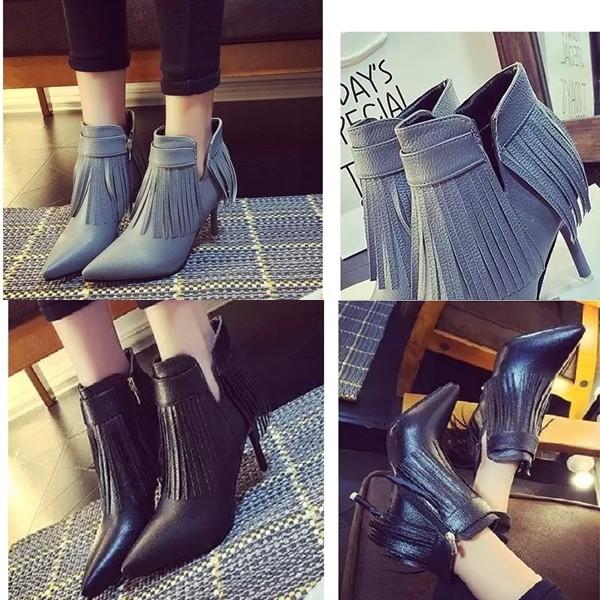 harga Sepatu boot heels wanita korea resleting kulit import Tokopedia.com
