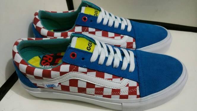 e6bedc5d88d8 Jual Vans Old Skool Golfwang Part 3 Blue Checkerboard Red EVB - Kota ...
