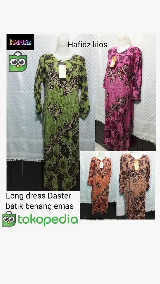 long dress daster batik benang emas panjang ibu kualitas