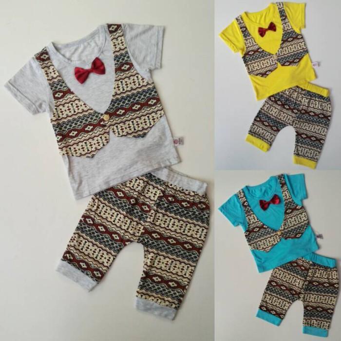 Setelan Baju Pesta Anak Cowok Import Rompi Vest Batik (1-3 tahun)