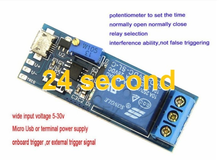 2Pcs Timer Control Module Micro Usb Power Delay Trigger Delay Switch Relay vr