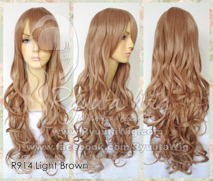 harga R914 | wig long wavy panjang gelombang blonde pirang gold emas coklat Tokopedia.com