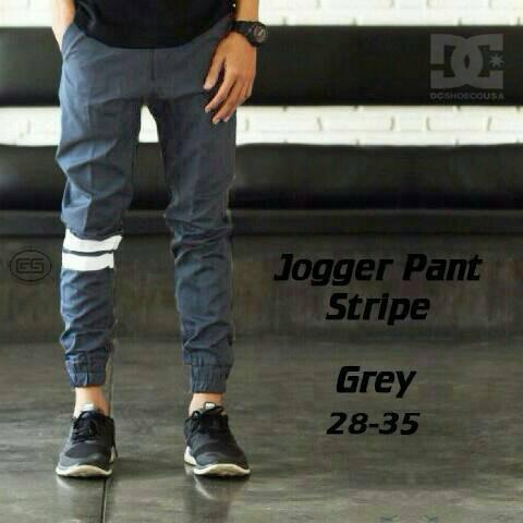 Celana pria jogger abu strip - pants grey stripe panjang dc