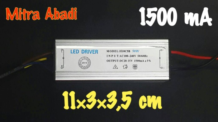 LED Driver 50 Watt 1500 mA Casing Besi WATERPROOF