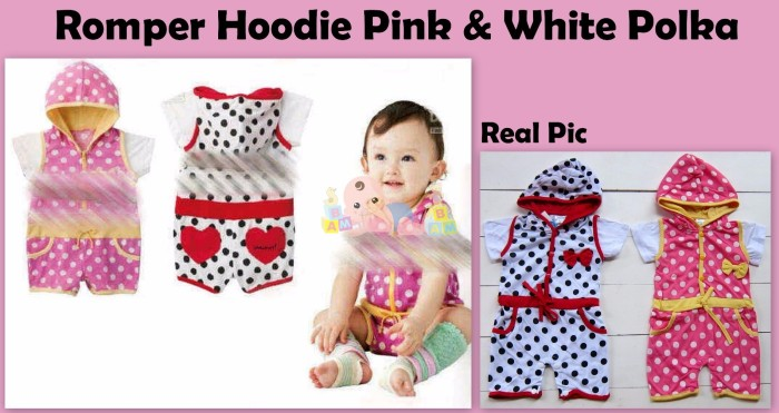 harga Romper hoodie pink white polka Tokopedia.com
