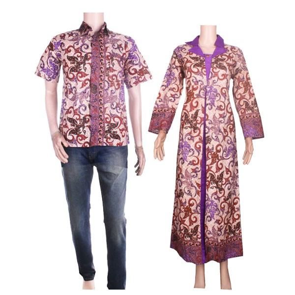 Foto Produk Sarimbit Gamis Batik Kombinasi Satin Larasati dari Jogja Batik