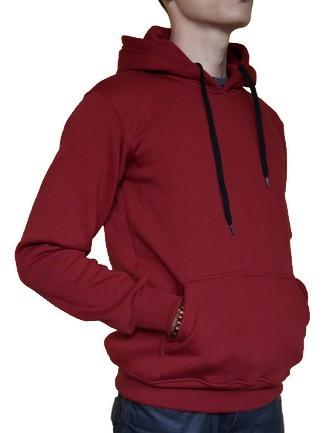 Jaket Hoodie Jumper Sweater Polos Merah Marun Kualitas Distro - Merah, M