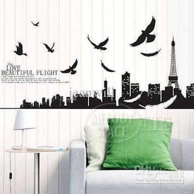 jual xy1002 paris w dove flying wall sticker stiker - wall sticker