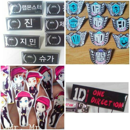 jual nametag name tag kpop 1d one direction request nama tulisan pin