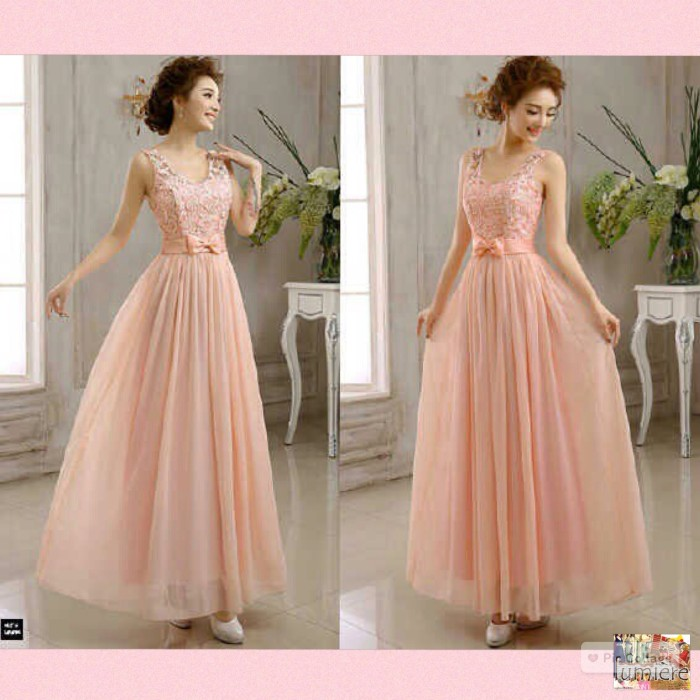 Long Maxi Dress Tile Brukat Furing Saten Berkaret Warna Peach