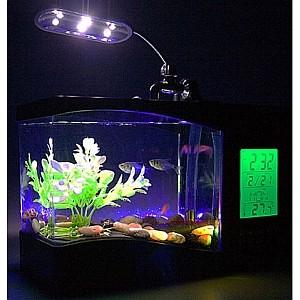 harga Aquarium mini usb + jam meja lcd display + lampu led / akuarium usb Tokopedia.com