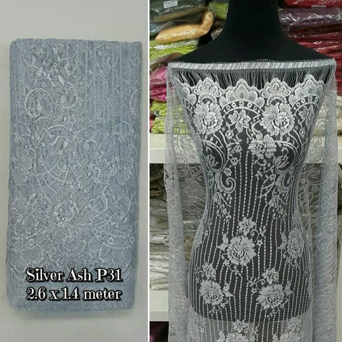 harga Brokat brukat kain kebaya silver ash p31 Tokopedia.com