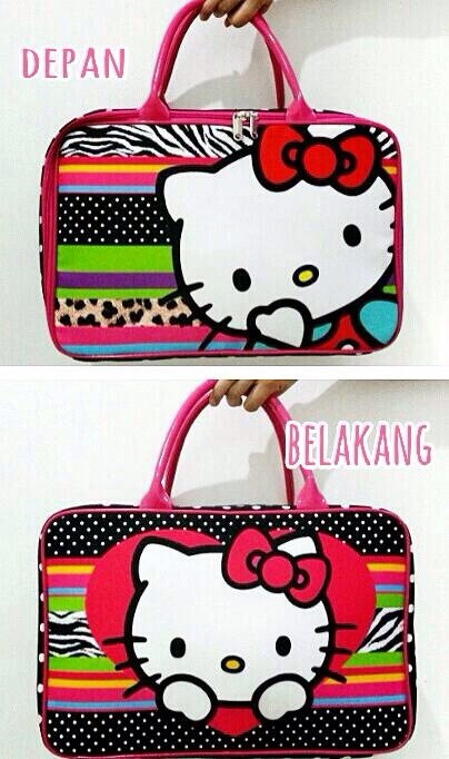 Tas travel bag koper kanvas renang kotak anak hello kitty tenteng