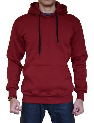 Sweater Polos Hoodie Jumper Warna Merah Marun/Maroon