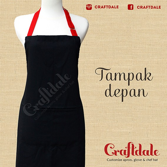 harga Celemek Polos - Hitam Tali Merah Tokopedia.com