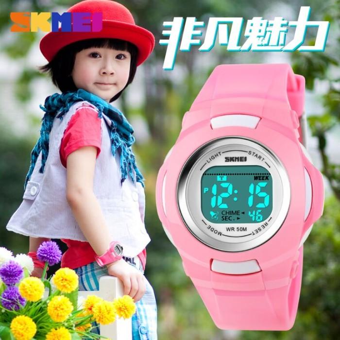 Jam Tangan Anak Lucu Pink Hitam Original Imut Tahan Air