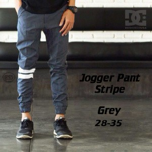 Celana jogger pants strip grey   abu   bestseller