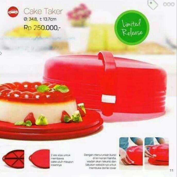 cake taker merah tupperware diskon