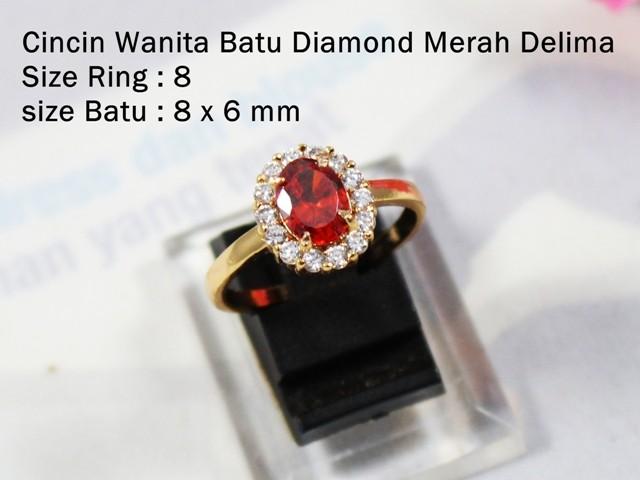 Cincin Wanita / Cewek Batu Diamond Merah Delima