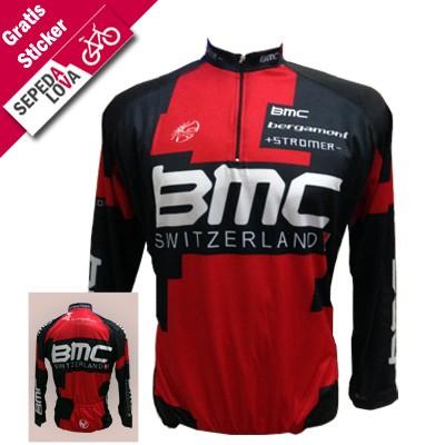 Jersey Sepeda MTB BMC Switzerland Hitam Merah (Lengan Panjang)