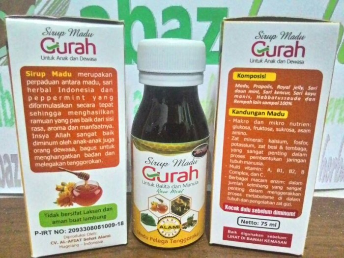 Jual GURAH, Sirup Madu Penghangat Badan & Pelega Tenggorokan - Kota  Tangerang - Jalan Herbal   Tokopedia