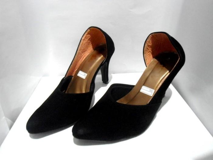 High Heels 10cm Suede Hitam Black Sepatu Wanita Pantofel Kerja Beludru 9dddfc6d1c