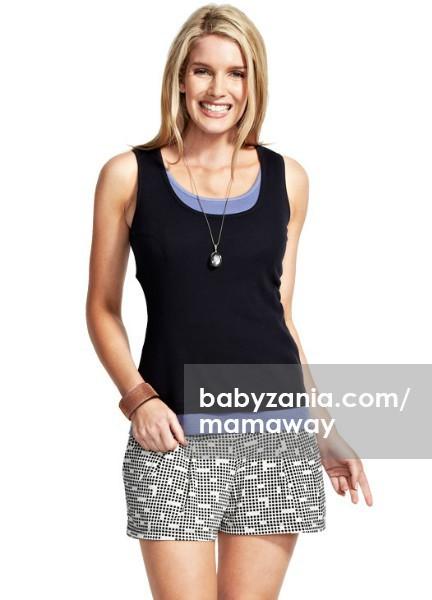 Mamaway happy two tone maternity & nursing tank top - navy