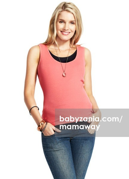 Mamaway happy two tone maternity & nursing tank top - pink