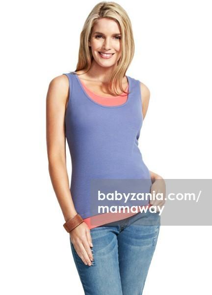 Mamaway happy two tone maternity & nursing tank top - purple