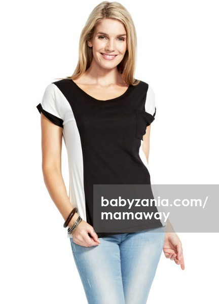 Mamaway slimming two tone maternity & nursing top - black