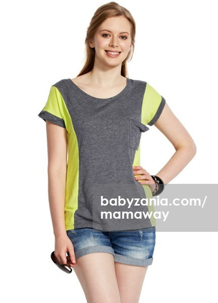 Mamaway slimming two tone maternity & nursing top - gray