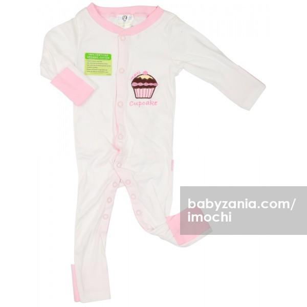 Imochi sleepsuit panjang - putih pink