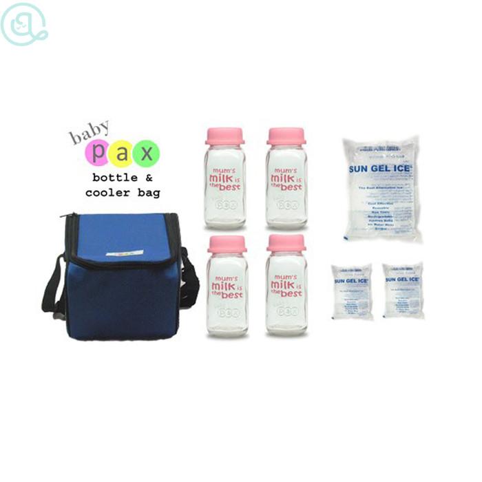 Baby pax cooler bag blue/cooler bag baby pax biru/botol asi kaca